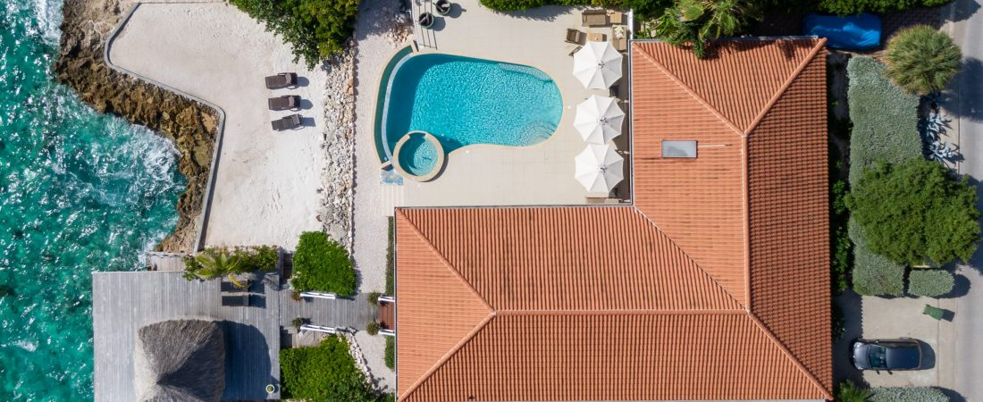 Helicopter view of Villa Sea Paradise Curacao